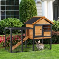 PawHut Wood-metal Rabbit Hutch Elevated Pet Bunny House Rabbit Cage with Slide-Out Tray Outdoor