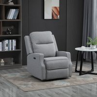 HOMCOM Electric Power Recliner Chair Armchair Sofa with Linen Upholstered Seat and Backrest, Retractable Footrest, Grey
