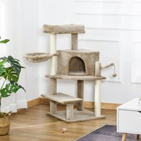 PawHut Cat Tree Tower 100cm Climbing Kitten Activity Center with Sisal Scratching Post Perch Roomy Condo Hammock Bed Hanging Toy, Brown
