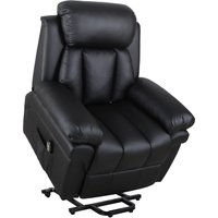HOMCOM Power Lift Assistance Recliner Armchair w/ Extra Comfort Padding PU Leather Black