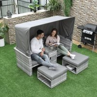 Outsunny 3 Pieces Outdoor PE Rattan Patio Furniture Set Daybed 2-Seater Sofa Footstool Tempered Glass Coffee Table Set with Retractable Canopy