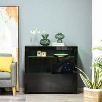 HOMCOM High Gloss LED Cabinet Cupboard Sideboard Buffet Console with RGB Lighting for Entryway, Dining Area, Living Room, Black