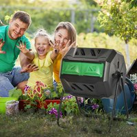 Outsunny Tumbling Compost Bin Outdoor Dual Chamber 360° Rotating Composter 160L w/ Sliding Doors and Solid Steel Frame, Black and Green