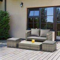 Outsunny 4-Piece Outdoor Wicker Conversation Patio Set All Weather PE Rattan Sofa Furniture with Double Sofa, 2 Ottomans and Lift Top Coffee Table