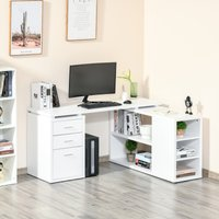 HOMCOM L-Shaped Computer Desk Home Office Corner Desk Study Workstation Table with Storage Shelves and Drawers, White