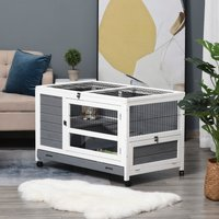 PawHut Wooden Rabbit Hutch Elevated Pet House Bunny Cage with Slide-Out Tray Lockable Door Openable Roof Indoor 102 x 60 x 63.5cm Grey