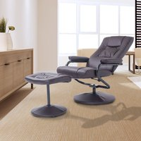 HOMCOM Recliner Armchair Executive Chair High Back Swivel Lounge Seat W/Footrest Stool-Brown