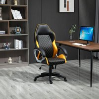 Vinsetto Office Chair Faux Leather Diamond Line High-Back Rocker Swivel Computer Desk Chair with Wheels, Black Orange