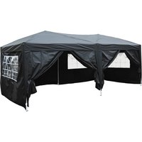 Outsunny 3 x 6m Garden Heavy Duty Pop Up Gazebo Marquee Party Tent Wedding Water Resistant Awning Canopy-Black
