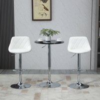 HOMCOM Round Height Adjustable Bar Table Counter Pub Desk with Metal Base for Home Bar, Dining Room, Kitchen, Black