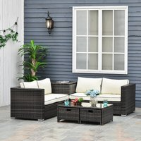 Outsunny 4 Pcs Rattan Wicker Garden Furniture Patio Sofa Storage and Table Set w/ 2 Drawers Coffee Table,Great Cushioned 4 Seats Corner Sofa - Brown