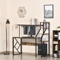 HOMCOM Computer Desk with Shelves Home Office Study Table with 6 Tier Storage Industrial Workstation for Small Spaces Rustic Brown