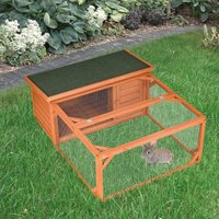 PawHut Rabbit Hutch Small Animal Guinea Pig House Off-ground Ferret Bunny Cage Backyard with Openable Main House and Run Roof 125.5 x 100 x 49cm Orange