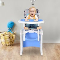HOMCOM HDPE 3-in-1 Baby Booster High Chair Blue