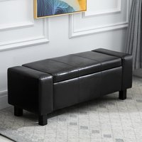 HOMCOM Ottoman Storage Chest Faux Leather Stool Bench Seat Bedding Blanket Box Home Furniture (Black)