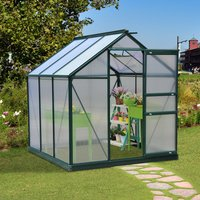 Outsunny Clear Polycarbonate Greenhouse Large Walk-In Green House Garden Plants Grow Galvanized Base Aluminium Frame w/ Slide Door (6ft x 6ft)