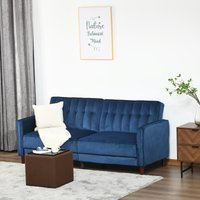 HOMCOM Convertible Sofa Futon Velvet-Touch Tufted Couch Compact Loveseat Sleeper Sofa Bed with Adjustable Split Back, Blue