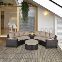 Outsunny 8 PCs Rattan Garden Furniture Set Rattan Sofa Set w/ Side Table and Cushioned