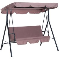 Outsunny 3 Seater Canopy Swing Chair Heavy Duty Outdoor Garden Bench with Sun Cover Metal Frame - Brown
