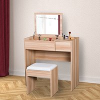 Dressing Table With Mirror and StoolWood Grain Colour