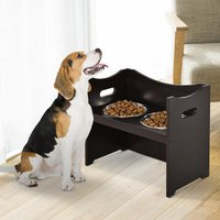 PawHut Elevated Duo Pet Feeder w/ 2 Stainless Steel Bowls MDF Frame Adjustable Shelf Handles Raised Dog Cat Food Drink 47x54cm Brown
