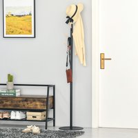 HOMCOM 174cm Free Standing Coat Rack Stand with 6 Hooks Clothes Tree Hat Display Hall Tree Hanger Hanging Organizer for Bedroom Living Room Black