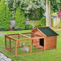 PawHut Wooden Rabbit Hutch Detachable Pet House Animal Cage with Openable Run and Roof Lockable Door Slide-out Tray 146 x 95 x 69cm
