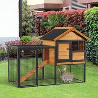 PawHut Wood-metal Rabbit Hutch Elevated Pet House Bunny Cage with Slide-Out Tray Lockable Door Outdoor 122 x 63 x 92cm Light Yellow