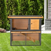 PawHut Wood-metal Guinea Pigs Hutches Elevated Pet House Bunny Cage with Slide-Out Tray Asphalt Openable Roof Lockable Door Outdoor
