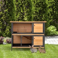 PawHut 2-Floor Wooden Rabbit Hutch Bunny Cage Metal Frame Pet House with Slide-Out Tray Feeding Trough Ramp Lockable Door Openable Roof