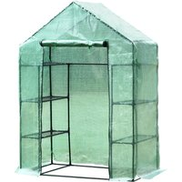 Outsunny Walk in Garden Greenhouse with Shelves Polytunnel Steeple Green house Grow House Removable Cover 143x73x195cm