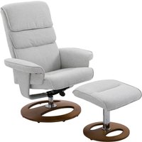 HOMCOM Recliner Chair Ottoman Set, Bent Wood Base-Grey