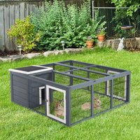PawHut Rabbit Hutch Small Animal House Ferret Bunny Cage Duck House Rabbit Hideaway Chinchilla Cage Backyard with Openable Main House and Run Roof