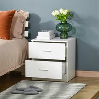 HOMCOM Bedside Table with 2 Drawers, Modern Nightstand, Cabinet Drawers Side Storage Unit for Bedroom, Living Room