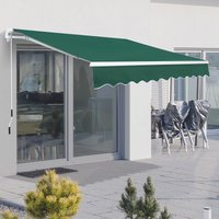 Outsunny Window Awning Canopy Garden Outdoor Shelter Patio Sun Shade UV Blocker Light Weight Aluminium Frame w/ Hand Crank 3 x 2m Green