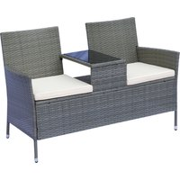 Outsunny 2-Seater Rattan Loveseat, 63Dx133Wx84H cm-Grey