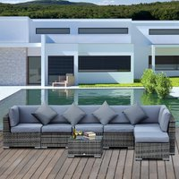 Outsunny 7-Seater Outdoor Garden Rattan Furniture Set w/ Coffee Table