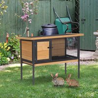 PawHut Wooden Guinea Pigs Hutches Elevated Pet House Bunny Cage with Slide-Out Tray Lockable Door Outdoor Openable Roof 91.5 x 45 x 70cm Natural Wood