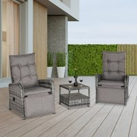 Outsunny 3 Pieces Patio Rattan Wicker Chaise Lounge Sofa Set Bistro Conversation Furniture with Cushion for Patio Yard Porch Mixed Grey