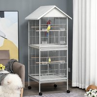 PawHut 170cm Large Wrought Metal Bird Cage Mobile Feeder with Rolling Stand Perches Food Containers Doors Wheels White