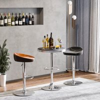 HOMCOM Round Height Adjustable Pub Table Counter Bar Table with Faux Leather Tabletop and Adjustable Footrest for Dining Room