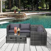 Outsunny 4 pcs Rattan Wicker Garden Furniture Patio Sofa Storage and Table Set w/ 2 Drawers Cushions Storage Corner Trunk Coffee Mixed Grey