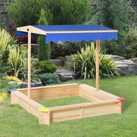 Outsunny Kids Square Wooden Sandpit Children Cabana Sandbox Outdoor Backyard Playset Play Station Adjustable Canopy Bench Seat Sand Protection Cover