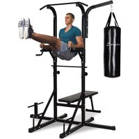 HOMCOM Home Gym Power Tower with Bench and Punching Bag, Multi-Function Adjustable Dip Sit Up Workout Station Equipment Heavy Duty for Home