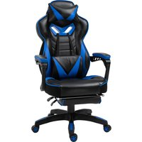 Vinsetto Racing Gaming Chair Adjustable Height Recliner with Wheels, Headrest,Lumbar Support Retractable Footrest Home Office, Blue