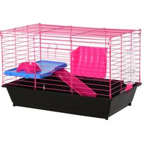 PawHut Dwarf Hamster Metal Cage Guinea Pigs Hutches w/ Tunnels Pink