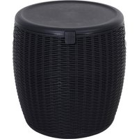 Outsunny 45L Outdoor Rattan-Effect PP Lift-Top Ice Cooler Table Black