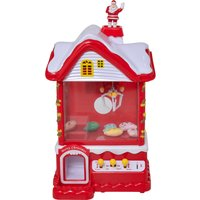HOMCOM Kids Mini Christmas Arcade Grabber Machine w/ Coins Lights Sound Levers Mini Claw Toys Fun Game Seasonal Gift Parties Red