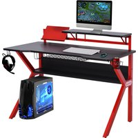 MDF Spacious Gaming Desk for working from home or office w/ Cup Holder Red