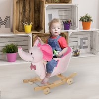 Kids 2 in 1 Rocking Elephant W/Wheels and Sound-Pink